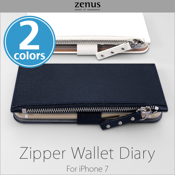 Zenus Zipper Wallet Diary for iPhone 7
