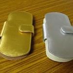 金のレザーケース&銀のレザーケース