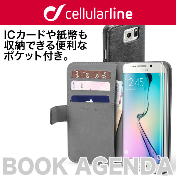 cellularline Book Agenda 手帳型 レザーケース for Galaxy S6 edge SC-04G/SCV31