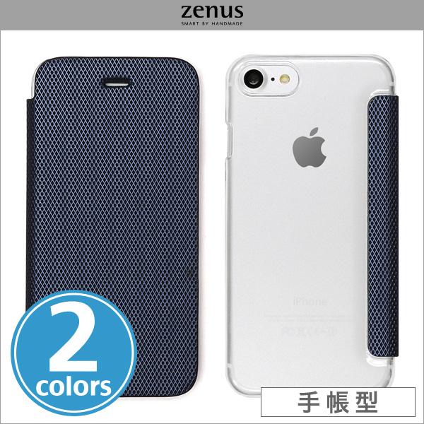 Zenus 背面クリア手帳型ケース Metallic for iPhone 7