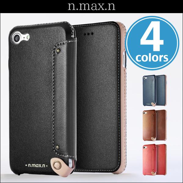 n.max.n New Minimalist Series 本革縫製ケース 画面カバー有り(Book型)タイプ for iPhone 7