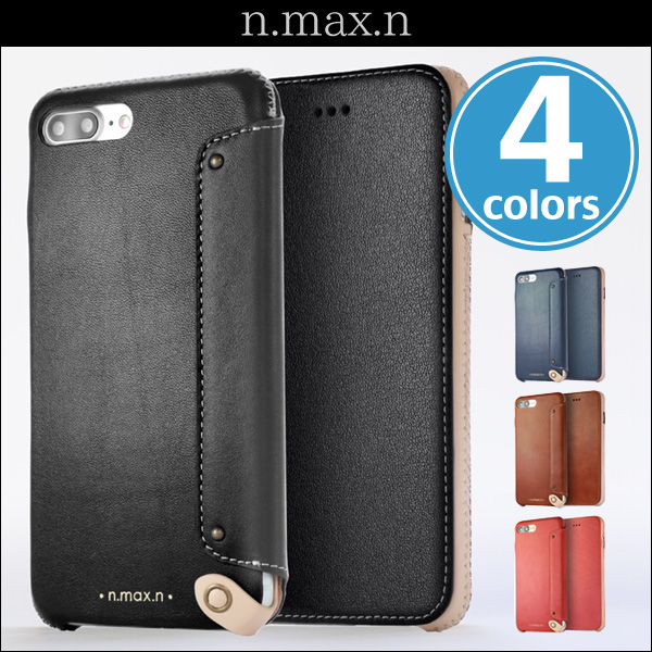 n.max.n New Minimalist Series 本革縫製ケース 画面カバー有り(Book型)タイプ for iPhone 7 Plus